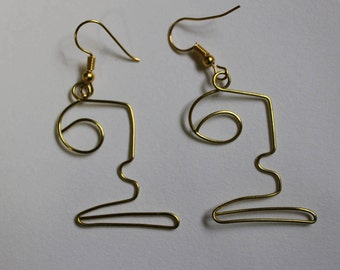 Wire Face Hook Earrings Handmade Bronze/Gold