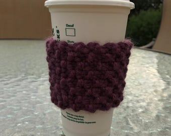 Seed Stitch Coffee Cozy: Purple