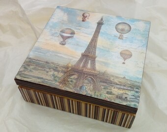 Vintage trinket box, valet, jewellery box - shabby chic, French, wooden, storage, decoupage, Paris