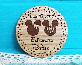 Save-the-Date Magnets-Wooden Engraved Save the Date-Rustic Save the Date-Wedding Magnet-Mickey and Minnie Save the Date-Mickey Mouse Wedding