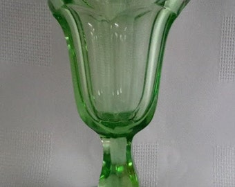 Footed Ice Cream Sunday Dish, Green Depression Glass (c.1950)