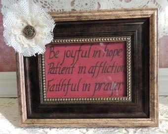 Framed inspirational bible verse with burlap flower embellishment
