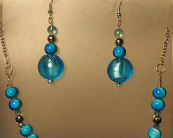 Blue necklace/earring set