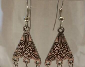 Crystal glass triangle earrings
