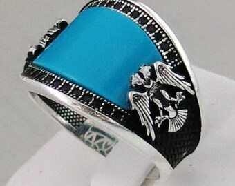 New Design Handmade 925 Sterling Silver Natural turquoise Stone + Eagle Men's RING C206