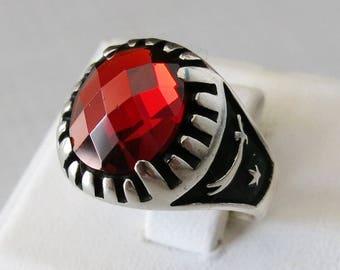 Handmade 925 Sterling Silver Red Zircon STONE Sword Men's RING #B51