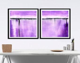 Purple Print Large Square Print 18x18 Set Of Two Digital Download Art Print Lavender Print Modern Diptych Purple Painting 2 Piece Violet Art