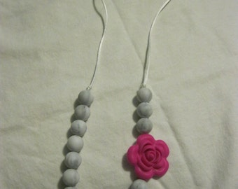 Bright Pink Flower and Marble Teething/Sensory/Nursing Necklace