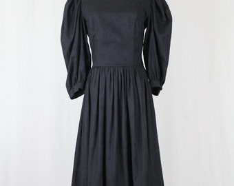 Vintage LAURA ASHLEY Victorian Inspired Black Rayon Damask Tea Dress 10 (small)