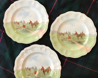 Set of 3 Royal Doulton Hunting Bread and Butter plates by Charles Simpson, Equestrian plate, vintage hunt scene, Made in England