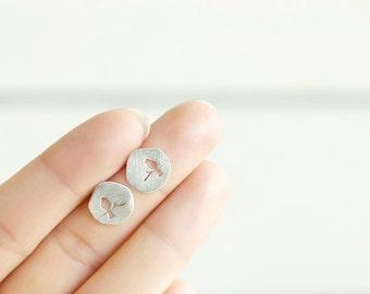 Hollow Bird Earrings Sterling Silver / 18k Gold Plated Stud Earrings For Women Jewelry