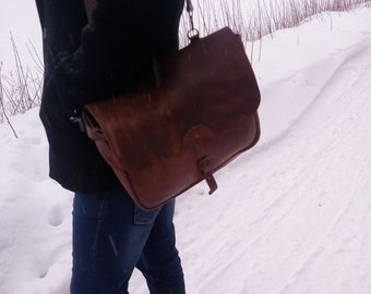 Leather Messenger Bag/ Leather Briefcase / Rustic Briefcase /Handmade Cross-body/ BagBrown leather bag. / Laptop bag.