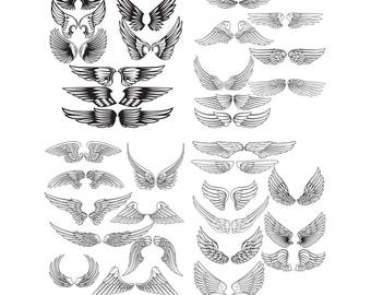 Angel wings svg,Wings svg,png,jpg,eps for Design/Print/ Silhouette Cameo/Cricut and Many More
