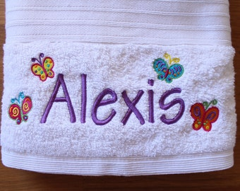 Butterfly Design,  Personalised, Embroidered Bath Towel (with Name) - Perfect for young children and newborn babies!
