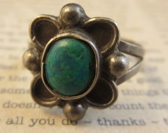 Vintage Turquoise Ring Sterling Silver 925 Size 4 Natural Patina Southwest Navajo Native American Style