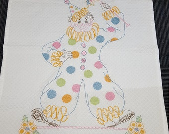 Baby Quilt Clown for Boy or Girl Embroried Handmade