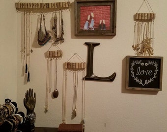 Wine cork jewelry hangers.