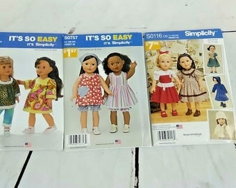 """Lot of 3 Simplicity 18"""" Doll Clothes Sewing Patters Vintage 1950's 1960's Hippy Coats"""