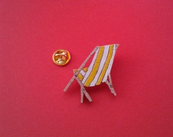 Pin's Deckchair, brooch, wood, handmade