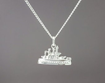 Sterling silver monopoly boat necklace - Sterling silver monopoly pendant - Monopoly jewelry - Monopoly piece jewelry