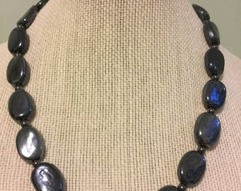 """Upcycled Jewelry """"Riverstone"""" Beaded Necklace - Made with Vintage/ Recycled Materials"""