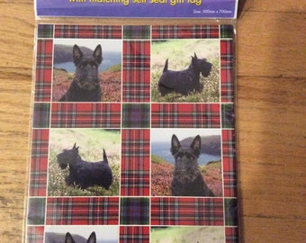 Scottie dog gift wrap and tag