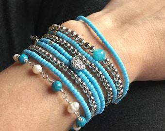 Bracelet set Silver/Blue
