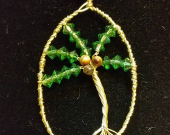 Unique Palm Tree and Gold Wire Pendant