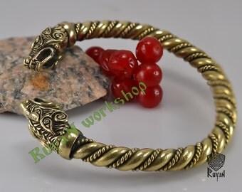 Viking Wolves bracelet. Vikings torq bracelet. Viking Bronze Bracelet. Berserker. Wolf heads. Viking Wolves. Viking Jewellery. Bronze Wolves