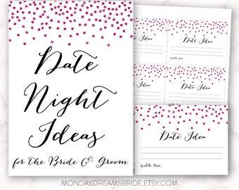 Printable Date Night Ideas Bridal Shower Game Hot Pink Glitter Confetti, Hot Pink Confetti Glitter Bridal Shower Game, Wedding BRS1C GM002