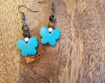 Turquoise Butterfly w/Brown Beads Fishhook Earrings