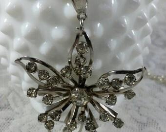 Vintage rhinestone amd silver brooch necklace.