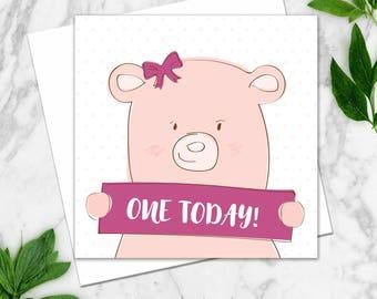 First Birthday Card. Girl Birthday Card. First Birthday Pink Bear Card. Birthday Card. Gift Card. Girl Bear Birthday Card. Animal Kids Card