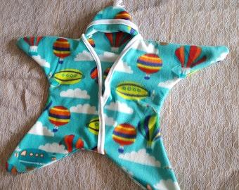 Star Baby Wrap, Hot Air Balloon Wrap, Baby Cozy, 4-8 Months, Fleece Wrap, Baby Clothes, Cloud Print, Baby Boy