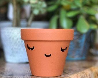 """Cute Face Terra Cotta Pot 3 3/8"""""""