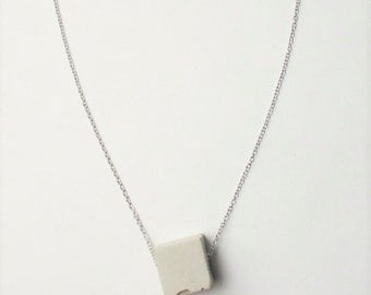 Cube concrete and stainless steel necklace made in Quebec