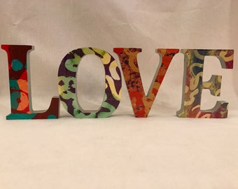 LOVE Hand decorated wooden letters