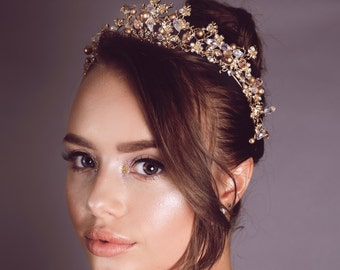 Magnificent Swarovski stones Crystal Pearl Bridal Tiara with Flowers Wedding Crown for Bride Wedding Pageant hair Accessories