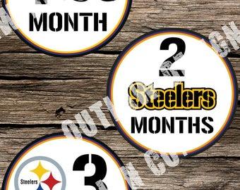 Baby Boy Monthly Milestone Markers Printable Instant Download NFL Pittsburgh Steelers Football Team Nursery