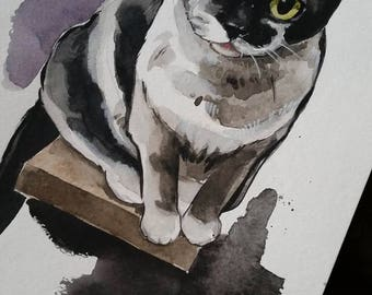 9x12 Watercolor Custom Pet Painting- Dog, Cat, Rabbit, etc!