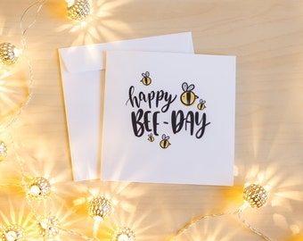 Happy Bee-Day - Illustrated birthday/greeting card