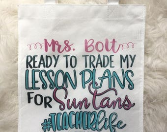 Teacher Tote Bag // end of year // teacher gift // lesson plans // personalized