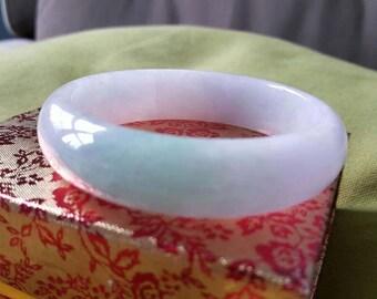 Certified Grade A Natural Lavender Apple Green Jadeite Jade Bracelet Bangle (Thick)