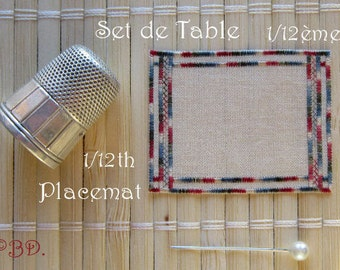 Place mat embroidered Miniature 1/12 scale