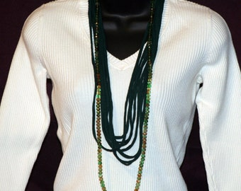 Green T-Shirt Necklace with Beads