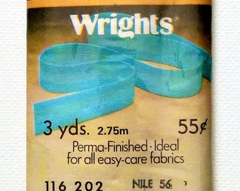 Wrights Polyester/Cotton Wide Bias Tape | 3 YDS | Nile #56 | 1976