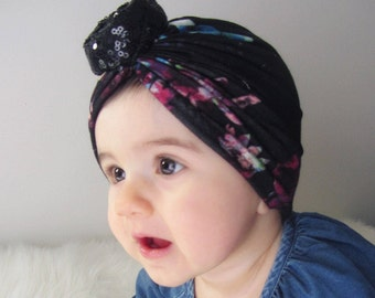 Floral turban With Sequin Knot