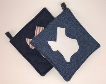 Denim Pot Holder with White Texas Accent - FREE SHIPPING!