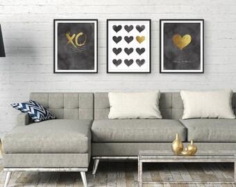 Wall Art Prints, Printable Art, Set of 3, Digital Prints, Bedroom Wall Art, Black And Gold, Gift For Her, Printables, Typography Print, Art