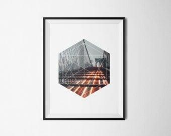 Bridge of Lights Under a Grey Sky - Digital Art, Printable Artwork, Modern, Geometric, Photography, Bridge, Stampa, Digital, Prints, Poster.